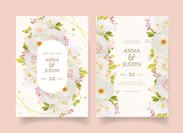 Wedding invitation with watercolor white roses and calla lily