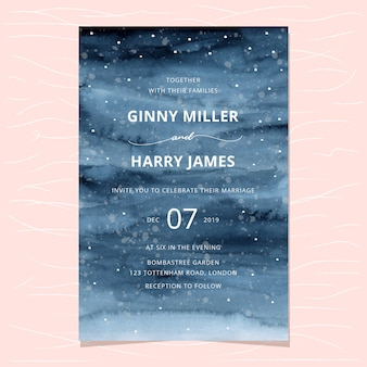Wedding invitation with watercolor winter background