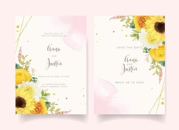 水彩の黄色い花と結婚式の招待状
