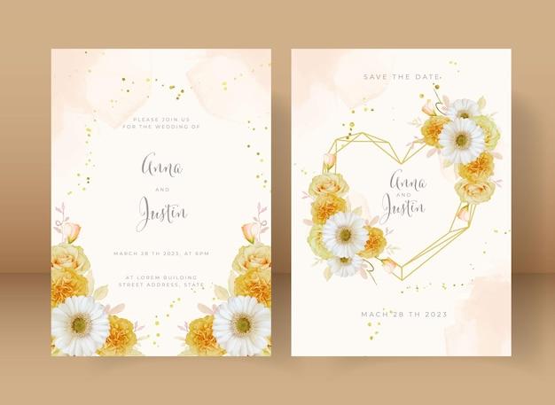 水彩の黄色いバラと白いガーベラの花と結婚式の招待状