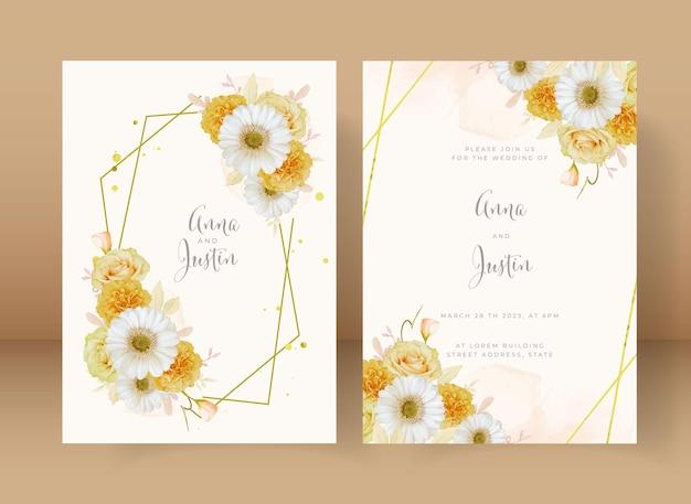 수채화 노란 장미와 흰 거베라 꽃 청첩장