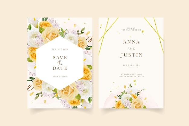 Wedding invitation with watercolor yellow rose  lily  and ranunculus flower