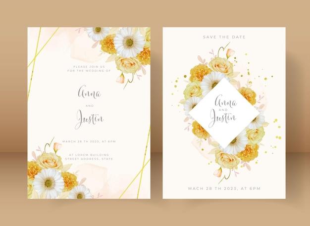 Invito a nozze con rosa gialla ad acquerello e fiore di gerbera bianca