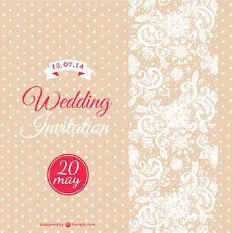 Wedding invitation with white dots and flowers