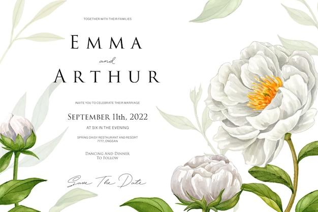 Свадебное приглашение с белым цветком акварель