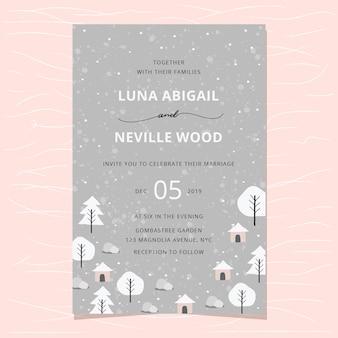 Wedding invitation with winter landscape background