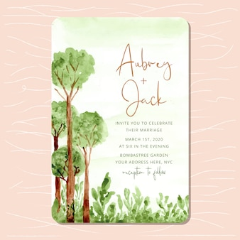 Wedding invitation with woodland watercolor background
