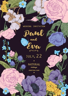 Wedding invitation with wreath of anemones and roses