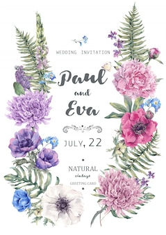 Wedding invitation with wreath of anemones