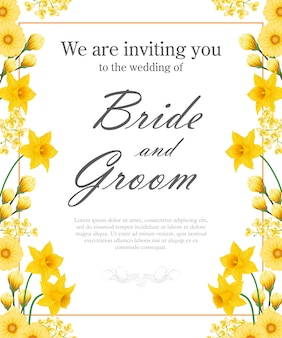 Wedding invitation with yellow daffodils and gerberas.