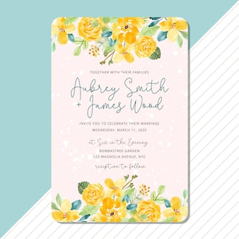 Wedding invitation with yellow floral watercolor frame