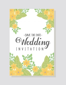 Wedding invitation with yellow flowers and leaves