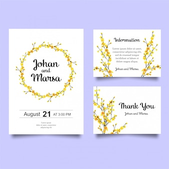 Wedding invitation with yellow flowers