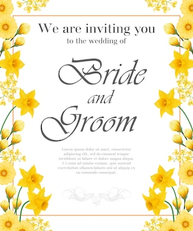 Wedding invitation with yellow narcissuses and gerberas.