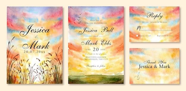 黄色のロマンチックな夕日の空と結婚式の招待状