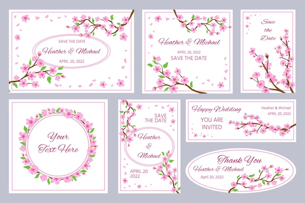 桜の花の結婚式の招待状やグリーティングカード。日本の桜の枝とピンクの花びらのフレームとボーダーベクトルセット