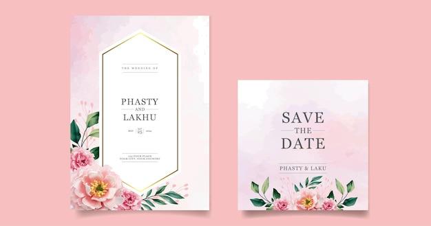 美しい花の結婚式の招待状カードテンプレート