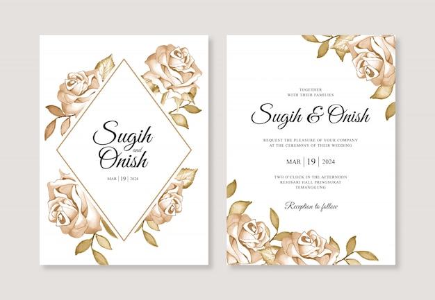 花の水彩画の結婚式の招待カードテンプレート