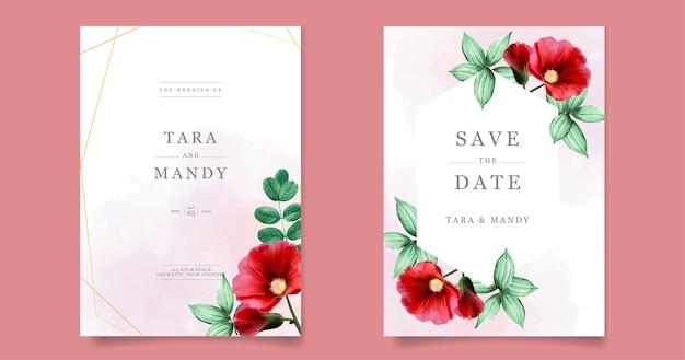 붉은 꽃 템플릿 결혼식 초대장 카드