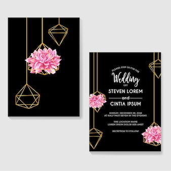 Wedding invitations dahlia watercolor and geometric gold