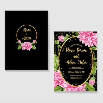 Wedding invitations dahlia watercolor and glitter gold