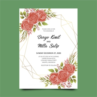 Wedding invitations geometric watercolor roses