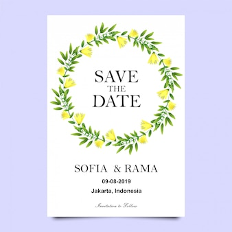 Wedding invitations of leaves and flowers