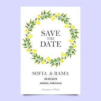 葉と花の結婚式の招待状