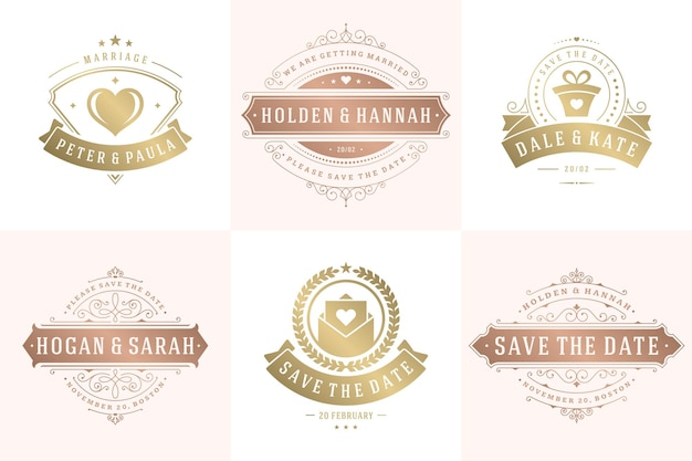 Wedding invitations save the date logos and badges elegant templates set