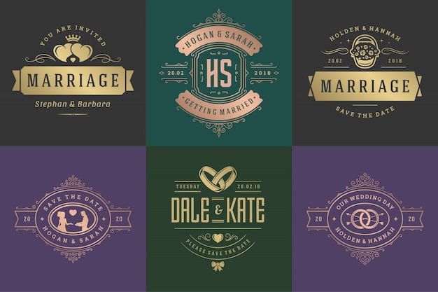 Wedding invitations save the date logos and badges