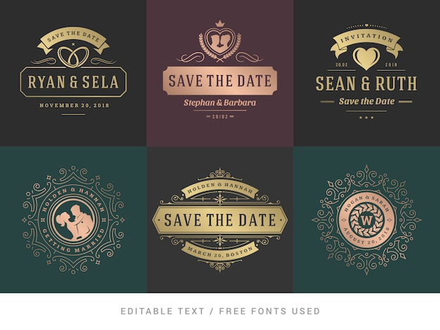 Wedding invitations save the date titles vector set.