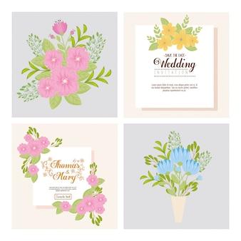 청첩장 꽃과 잎으로 설정