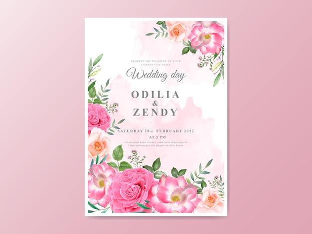 美しい花をテーマにした結婚式の招待状のテンプレート