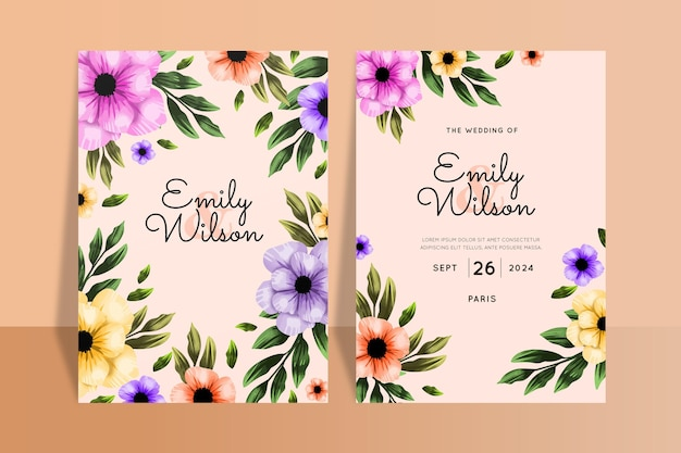 Wedding invitations template with flowers