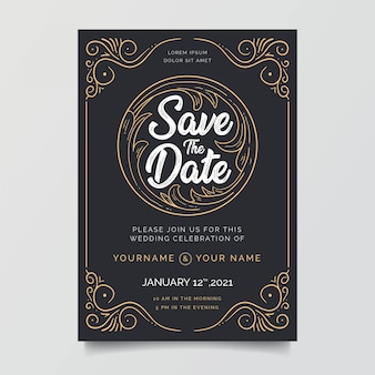 Wedding invitations with awesome decoration frames