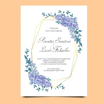 Wedding invitations with blue flower decorations