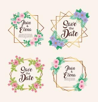 花の色と金色のフレームの結婚式の招待状
