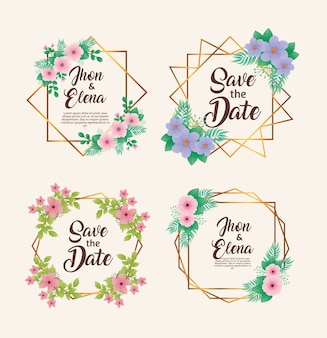 Wedding invitations with floral colors and golden frames