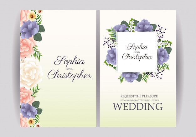 Wedding invitations with floral frames