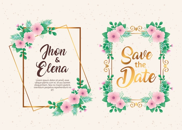 Wedding invitations with pink floral and golden frames
