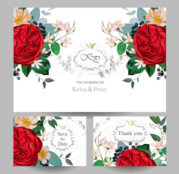 赤いイングリッシュローズと結婚式の招待状