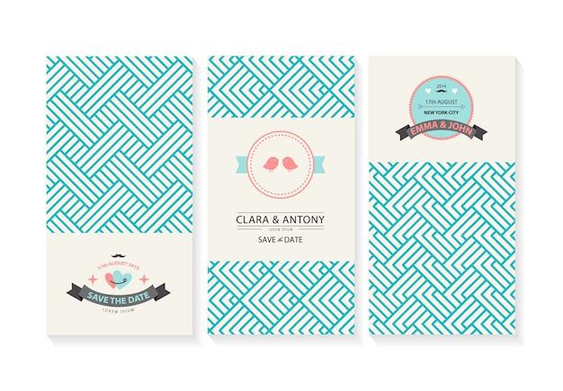 レトロな幾何学的な背景を持つ結婚式の招待状