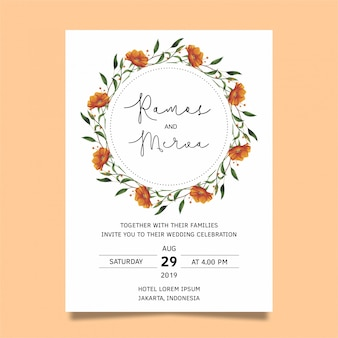 Wedding invitations with watercolor style flowers