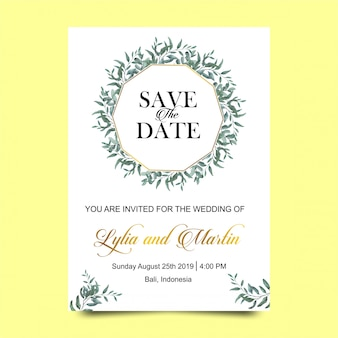 Wedding invitations with watercolor style leaves