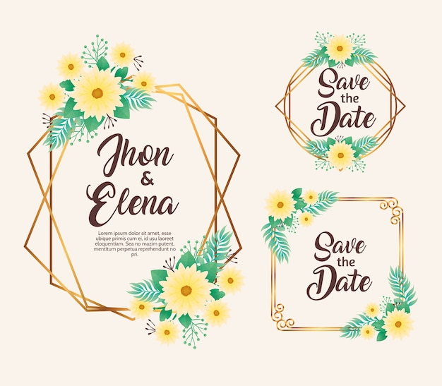Wedding invitations with yellow floral and golden frames