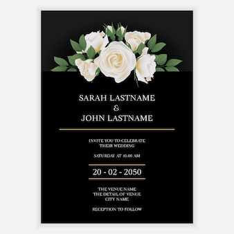 Wedding invite card with white rose flower bouquet