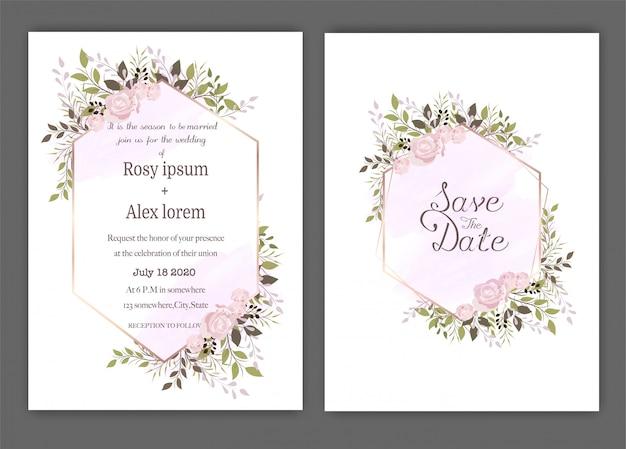 Wedding invite, invitation, save the date card design with elegant lavender  garden  anemone.