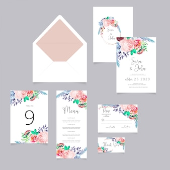 Wedding invite, menu, rsvp, thank you label card design with white, watercolor flowers