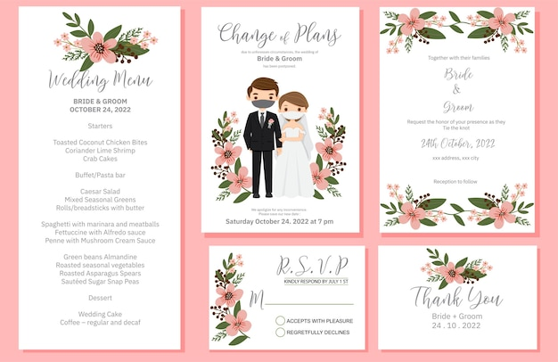 Wedding invite, menu, rsvp, thank you label save the date card design