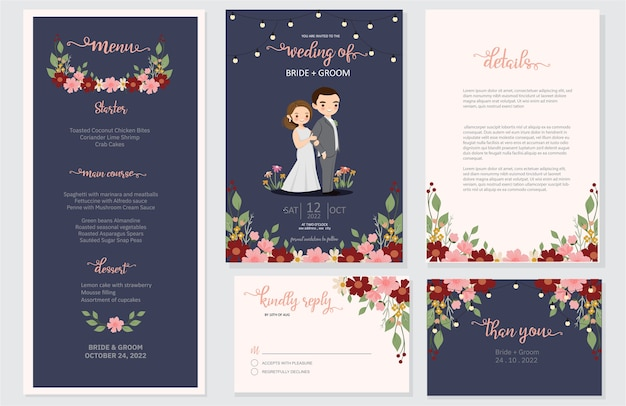 Wedding invite, menu, rsvp, thank you save the date card design
